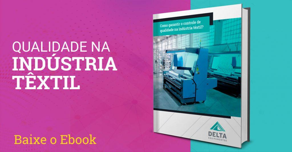 Capa do e-book sobre controle de qualidade na indústria têxtil.