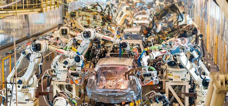 Imagem da fábrica da toyota.