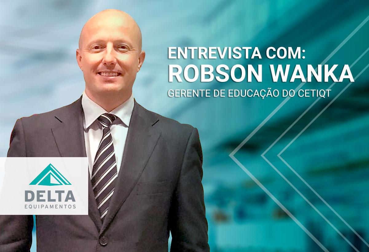 Imagem ilustrativa possui Robson Wanka, gerente de educação do Senai CETIQT como entrevistado.